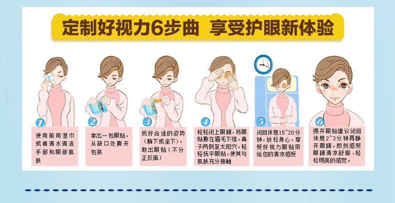 使用方法:闭上眼睛,将眼贴分别贴敷于眼部.
