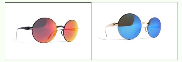 金色镜框蓝色镜片圆框墨镜
