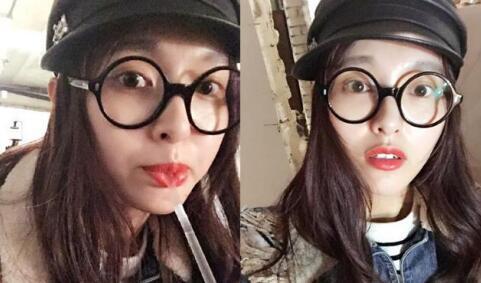 唐嫣戴眼镜的自拍俏皮可爱,圆框眼镜就是有这样神奇的魔力,无论是