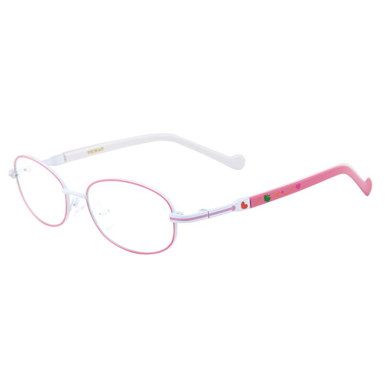 可爱儿童近视合金板材休闲学生眼镜fh4001c3粉框白腿