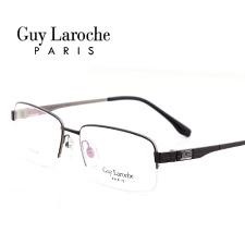 姬龙雪GL0505C04商务纯钛半框大码男士黑色近视框架眼镜