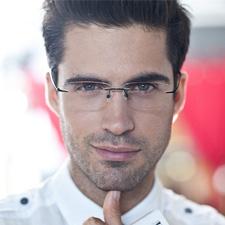 亿超FB6017C4黑色 近视眼镜框 男款 方形无框 纯钛框架眼镜