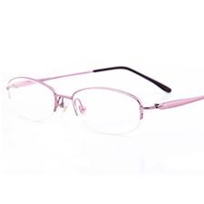 亿超1106c07A磨砂粉色女士纯钛半框近视眼镜