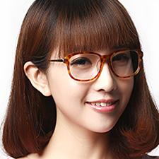 亿超时尚板材合金女士休闲全框中码近视眼镜FB5028C05浅玳瑁
