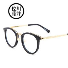 佐川藤井板材+合金81232黑框金腿C3016潮款中性近视眼镜架