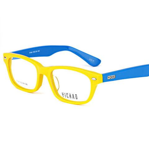 亿超5104C4黄框蓝腿 板材眼镜架 板材时尚镜框 男女通用眼镜