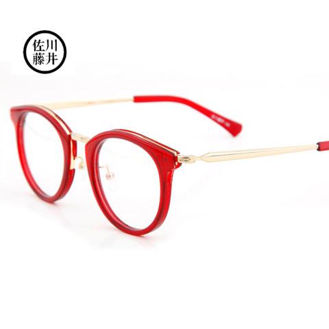 佐川藤井板材+合金81232红色C221潮款中性近视眼镜架