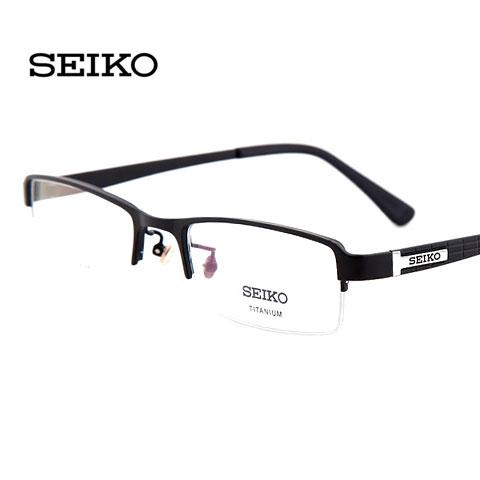 精工HC1004C19磨砂黑男士商务纯钛半框近视眼镜