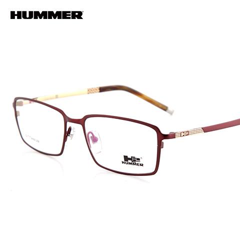 悍马 HM99014 男士 眼镜框 BN暗红/金