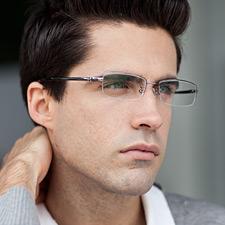 亿超 FB6009C3枪色 男士商务 中码半框 超轻纯钛 近视眼镜框