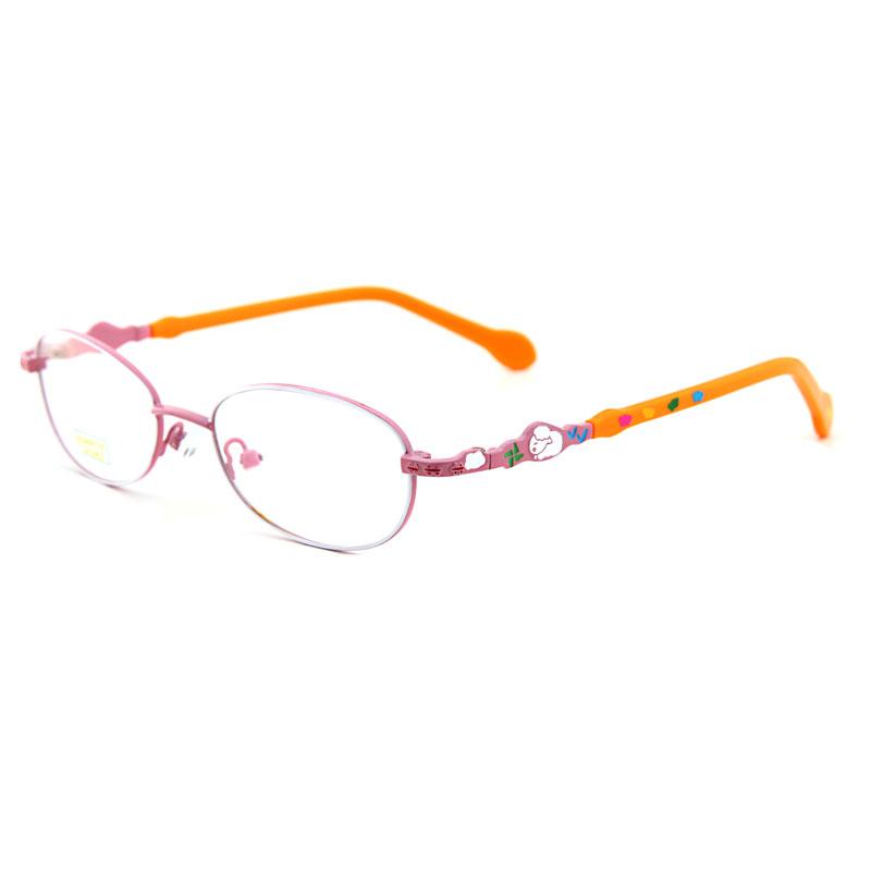 亿超Q691合金板材C11粉框橙腿 新品 儿童眼镜 休闲 全框眼镜
