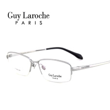 姬龙雪GL0513C02商务纯钛半框大码男士银色近视框架眼镜