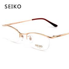 精工男款经典商务超轻纯钛H3059C1金色近视框架眼镜