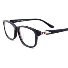 新品亿超女款时尚休闲板材全框近视框架眼镜V90026C1黑色