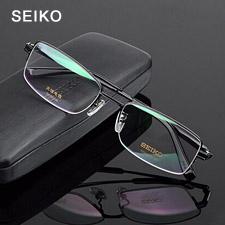 精工 纯钛 半框眼镜框 黑色 商务男士 HT01080C113