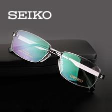 精工HC1012c169商务纯钛全框大码男士枪色近视框架眼镜