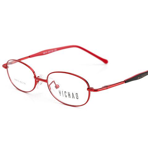 亿超613 C6酒红 儿童可用 金属合金 可爱椭圆全框 小码眼镜架