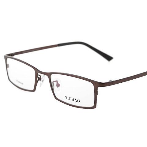 亿超 纯钛 全框眼镜框 咖啡色 百搭商务男款 FG7008QMC1