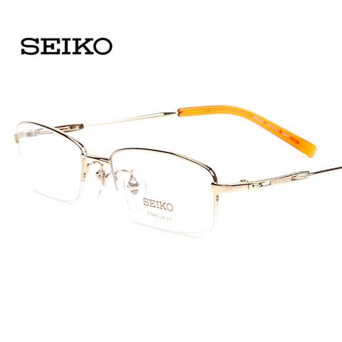 精工H1061c01金色 专柜正品 中码半框 男士纯钛 商务近视框架眼镜