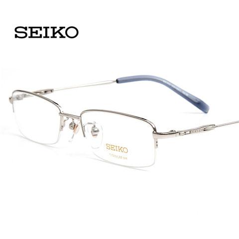 精工H1061c2银色  中码半框 男士纯钛 商务近视框架眼镜