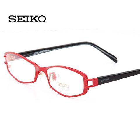 精工H02049 红色 时尚眼镜框 近视眼镜女款 超轻纯钛眼镜架