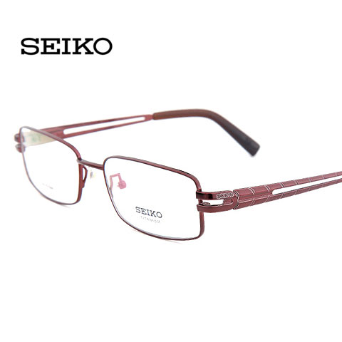 精工HB1087C165红纯钛眼镜女士商务近视眼镜