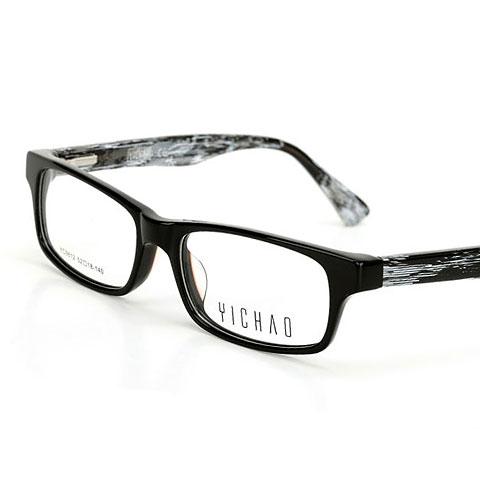 亿超 9812C2黑框黑白腿  复古黑框 眼镜架 板材近视眼镜框