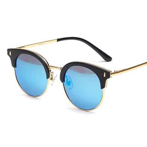亿超TR90 儿童偏光太阳镜 亮黑/炫彩蓝 复古时尚款 D7991C1B