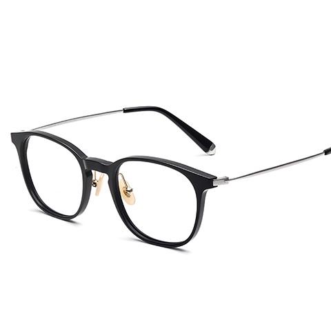 亿超 板材+钛 黑银色 全框眼镜框 百搭男女通用 FG80086C02