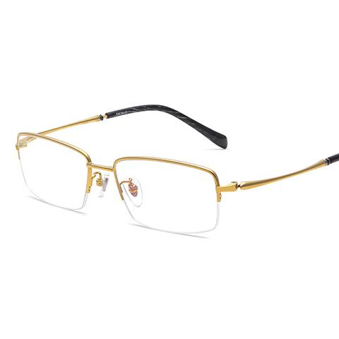 亿超 纯钛 半框眼镜框 金色 商务男士 FG80037C01