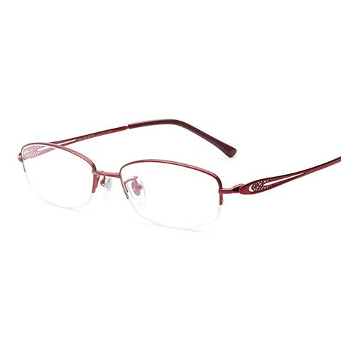 亿超 纯钛 半框眼镜框 酒红色 商务女士  FB6125C08