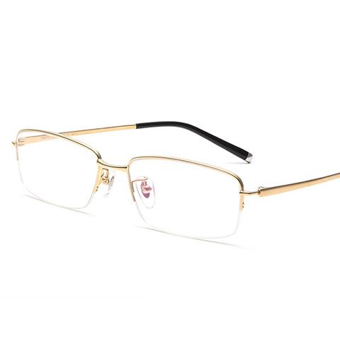 亿超 纯钛 半框眼镜框 金色 商务男士 FB6112C01