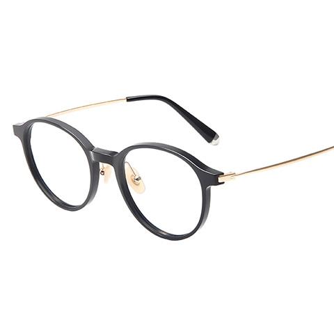 亿超 板材+钛 全框眼镜框 黑金色 商务男士 FG80085C01