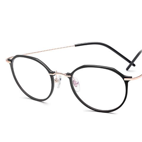 亿超 尼龙+钛 全框眼镜框 黑金色 潮流女士  FB6174C1