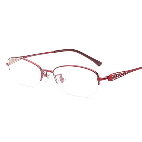 亿超 纯钛 半框眼镜框 酒红色 商务女款 FB6127C08