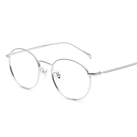 亿超 纯钛 全框眼镜框 暗紫银色 文艺复古男女款 FB6167C02