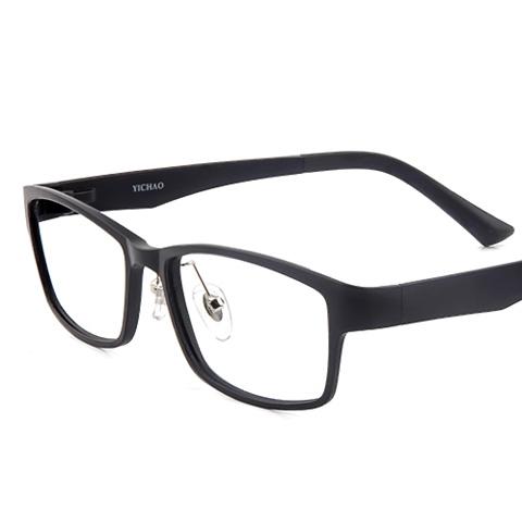 亿超 钨碳 全框眼镜框 黑色 大码休闲男女通用 Y0001C1
