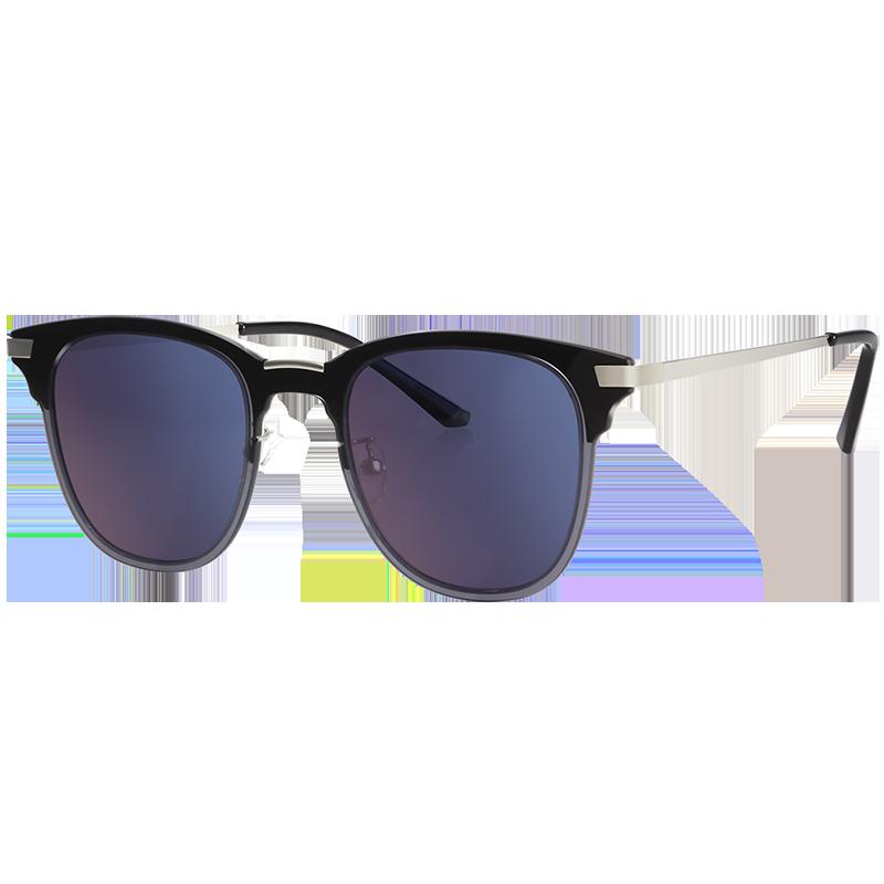亿超新款复古太阳眼镜网红款可配近视YC2202C03黑框渐蓝片