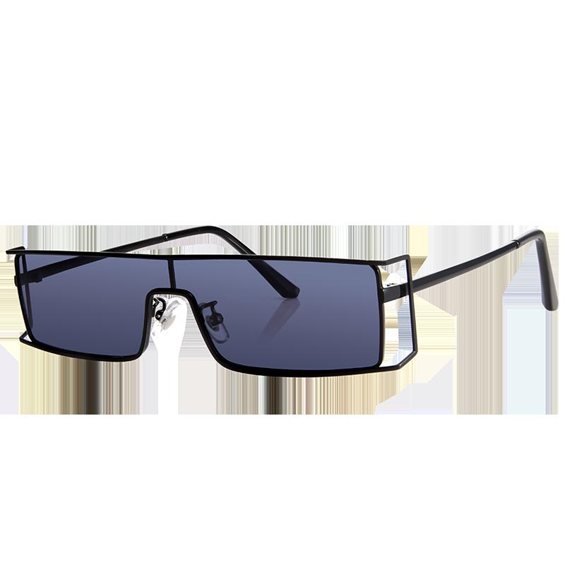 亿超个性款一体式骇客款太阳镜 男女同款YC2210C01极致黑