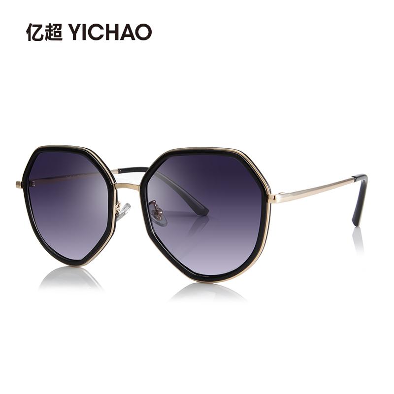 亿超多边形墨镜2206网红黄色眼镜女韩版潮 个性 偏光近视男时尚太阳镜