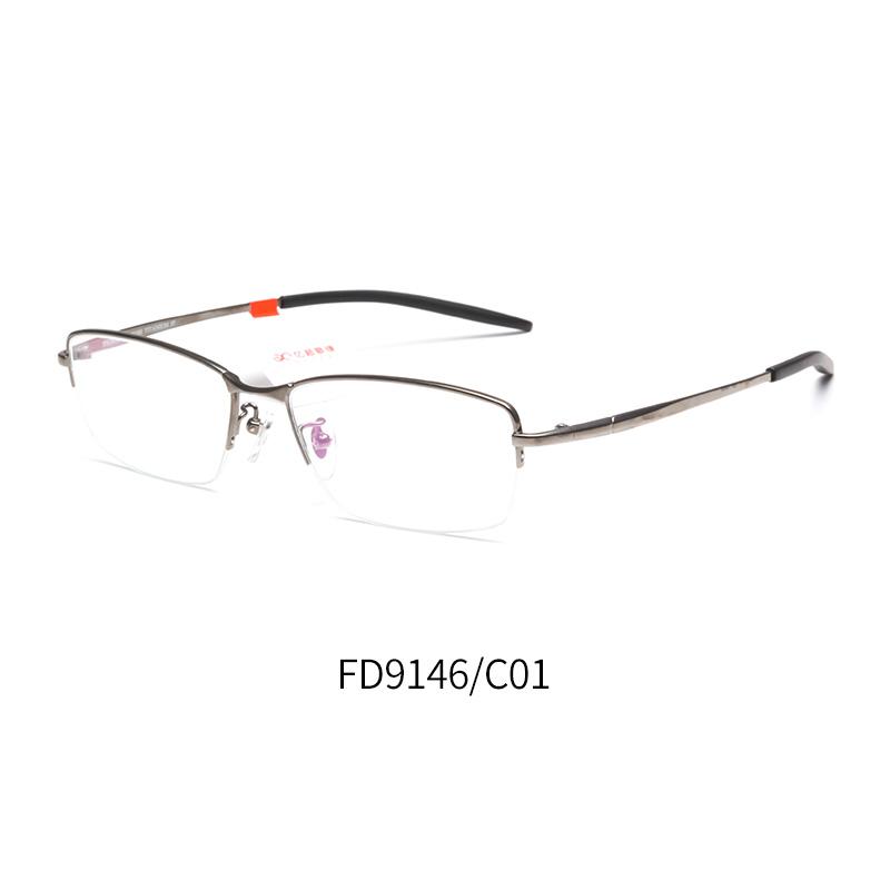亿超钛FD9146男士半框 近视眼镜框 枪色