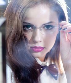 亿超 纯钛 无框眼镜框 粉色 百搭女士 FB6018C7